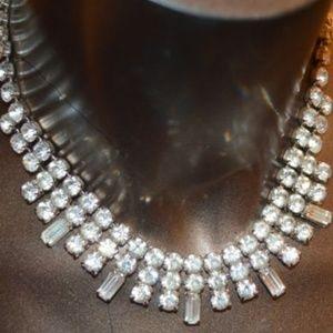 Vintage Rhinestone Silver Chain Necklace 🔅